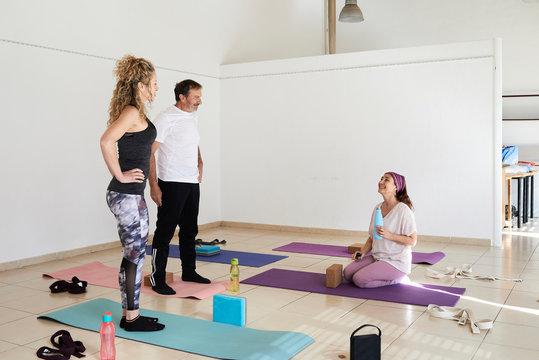 Social engagement group yoga class.