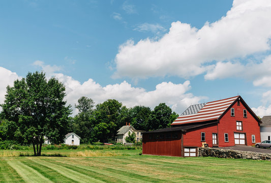 Rural Barn with American Flag