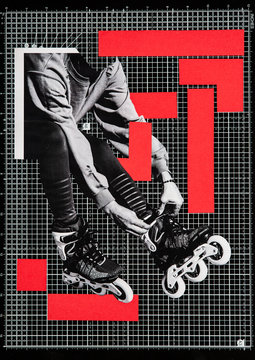 Collage of roller skates with red colour blocking