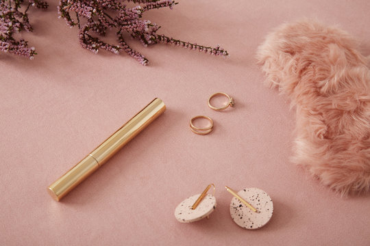 Pink and golden accessories