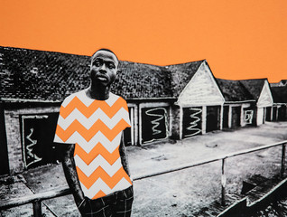 Collage of a man in front of garages with chevron blocking