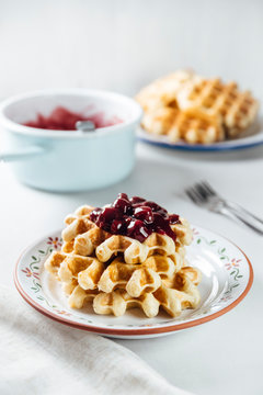 Food: Liege waffles with cherry sauce