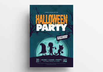 Halloween Flyer Layout with Cartoon-Style Illustrations