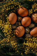 Mimosa wreath and eggs