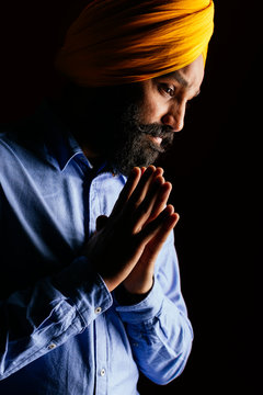 Close up of handsome Indian Sikh