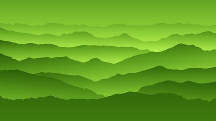Foto op Plexiglas Pistache Radient green background landscape, misty fog on mountain slopes. Abstract gradient background, vector illustration.