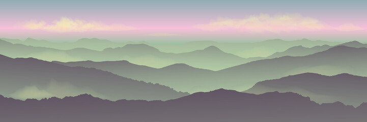 Türaufkleber Olivgrun Dawn background landscape, misty fog on mountain slopes. Abstract gradient background, vector illustration.