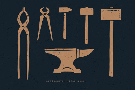 Blacksmith tools on a dark background. Set of vintage graphic. Design elements. Hammer, tongs, anvil.  Monochrome style. Vector illustration.