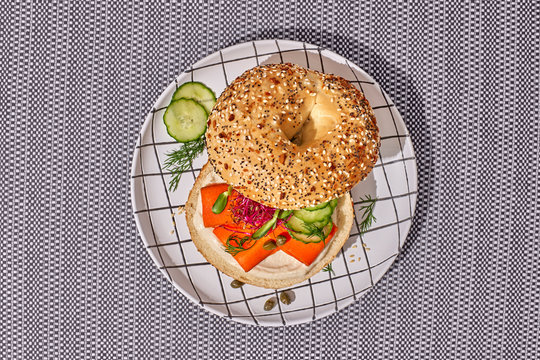 Vegan Carrot Smoked Salmon and Cashew Cream Cheese on an Everything Bagel