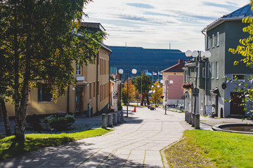 Summer sunny view of Kiruna streets, the northernmost town in Sweden, province of Lapland, Norrbotten County