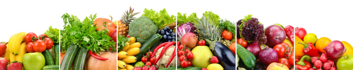 Useful fruits and vegetables divided vertical lines isolated on white Wall mural