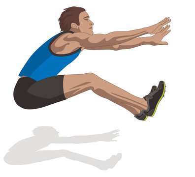 male long jump athlete, airborne isolated on a white background