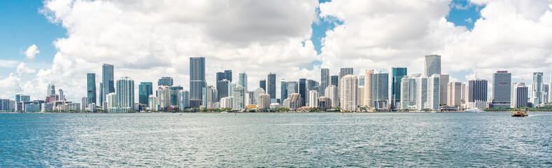 Miami Downtown skyline in daytime with Biscayne Bay