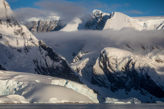 Snow covered peaks and ice