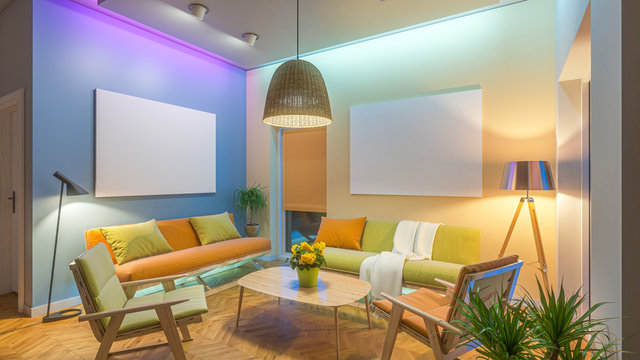 Modern Livingroom with colored led light - picture background
