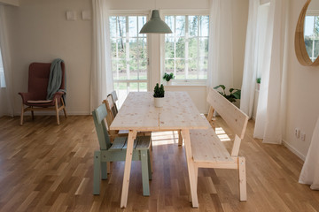 Dinning room table and chair in home