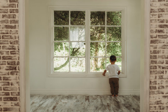 Toddler boy looking out window at trees in natural light studio