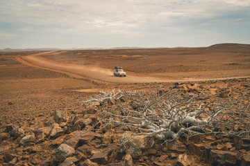 Driving off-road deep in Namib Desert
