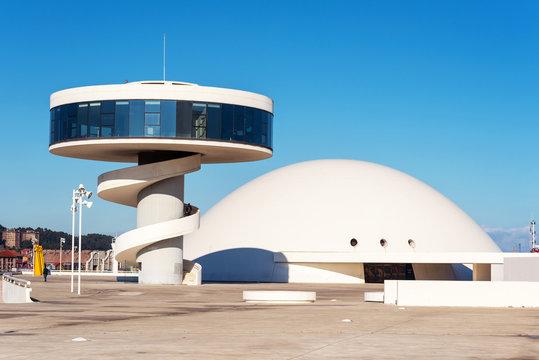 Aviles, Spain - November 19, 2018: Niemeyer Center building in Aviles. Is a cultural center designed by Brazilian architect Oscar Niemeyer.