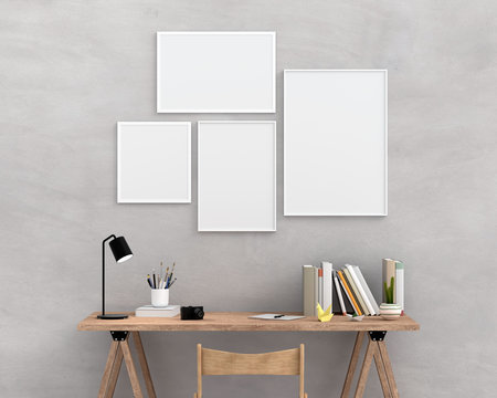 Four empty photo frame for mockup on wall, 3D rendering