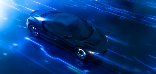 Futuristic high speed sports car in motion with technology background