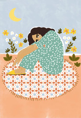 Illustration of woman sitting on rug