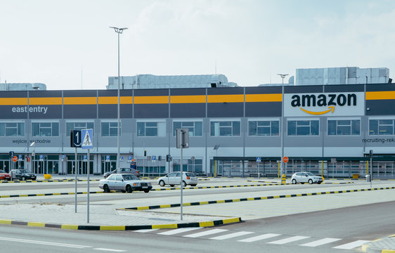 SOSNOWIEC, POLAND, March 31, 2019, Amazon, the main office building and the large Amazon. Distribution and distribution warehouse by Amazon in Sosnowiec.