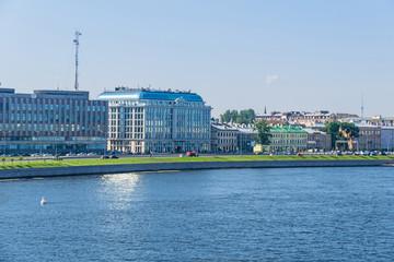 Sinopskaya Embankment with the buildings of the Rostelekom and Business Center Sinop in Saint Petersburg, Russia