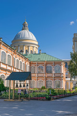 Holy Duchov Corps of the Alexander Nevsky Lavra and the dome of the Holy Trinity Cathedral in Saint Petersburg, Russia