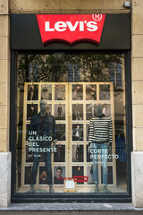 Levi Strauss store on October 17, 2016 in San Sebastian, Spain. Founded in 1853, Levi Strauss is an American clothing company best known for its brand of denim jeans.