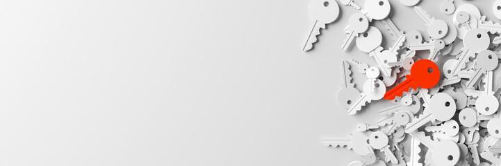 Infinite keys, metaphor of ideas, solutions  and risk management; original 3d rendering