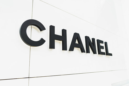 Bangkok, Thailand - Apr 26, 2018: Chanel brand logo in front of Chanel boutique store at Emquartier shopping center in Bangkok, Thailand