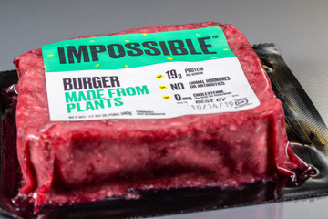 Impossible plant based burger package of three patties
