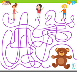 maze game with girls and teddy