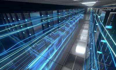 3D server room/ data center - storage, hosting, fast Internet concept