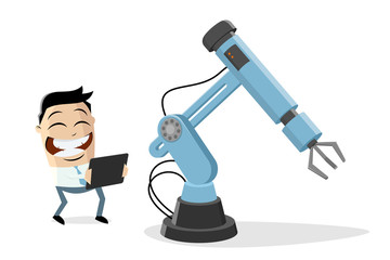 funny cartoon illustration of an asian businessman with industrial robot and tablet