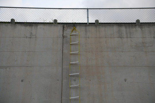 A rope ladder rigged onto a levee wall is pictured after a group of undocumented migrants were apprehended by U.S. Border Patrol agents nearby following an illegal crossing of the Rio Grande near Penitas