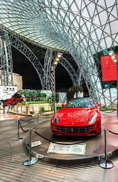 ABU DHABI, UAE - MAY 13, 2014: Ferrari World at Yas Island in Abu Dhabi on May 13, 2014, UAE. Ferrari World is the largest indoor amusement park in the world.