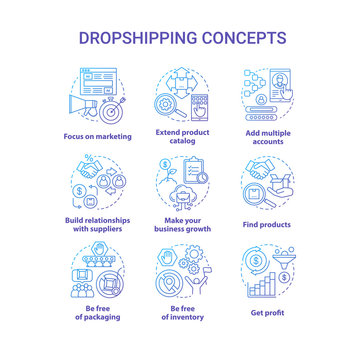 Dropshipping blue concept icons set. Online delivery service idea thin line illustrations. Focus on marketing, find products, make your business growth, get profit. Vector isolated outline drawings