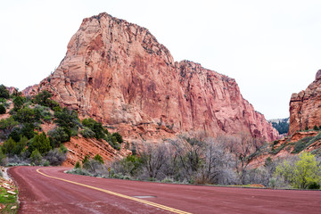 Road to Kolob Canyons in Zion National Park, Utah, USA