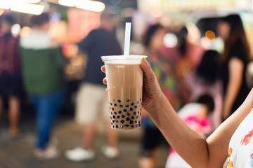 taiwanese bubble milk tea at night marketplace