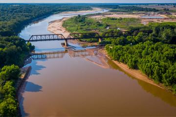 Train trestle crossing river