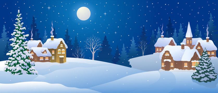 Christmas night village, snowy landscape panorama
