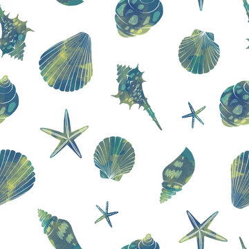 水彩風の貝殻とヒトデの背景パターン白
