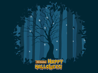 Happy Halloween. icon tree background at night forest. Concept cartoon Halloween day elements. Vector clipart illustration