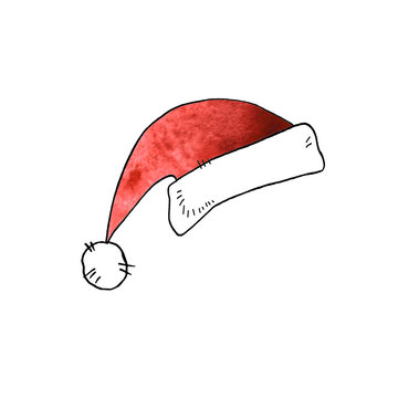 Watercolor hat flat cap Santa Claus isolated on white background. New year and Christmas line art, doodle, sketch, hand drawn. Element of Christmas and New Year design.