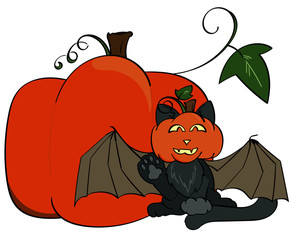 Halloween Themed Cat with Bat Wings and a Pumpkin Head