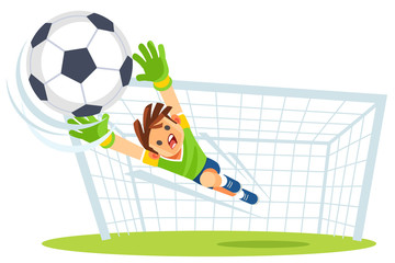 Goalkeeper catches the ball. Kids sports. Vector illustration.