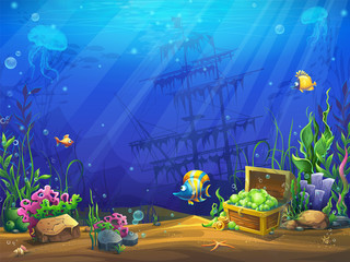 Vector illustration of the underwater ocean