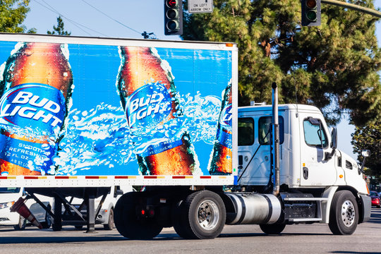 Oct 4, 2019 Mountain View / CA / USA - Bud Light branded truck making deliveries in San Francisco Bay; Bud Light is an Anheuser-Busch (a subsidiary of Anheuser-Busch InBev SA/NV) beer brand